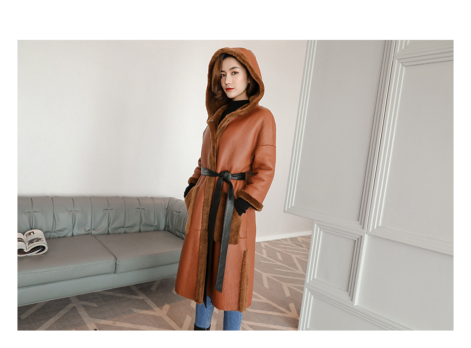 3-4 Length Merino Shearling Sheepskin Long Coat 012 Details 5