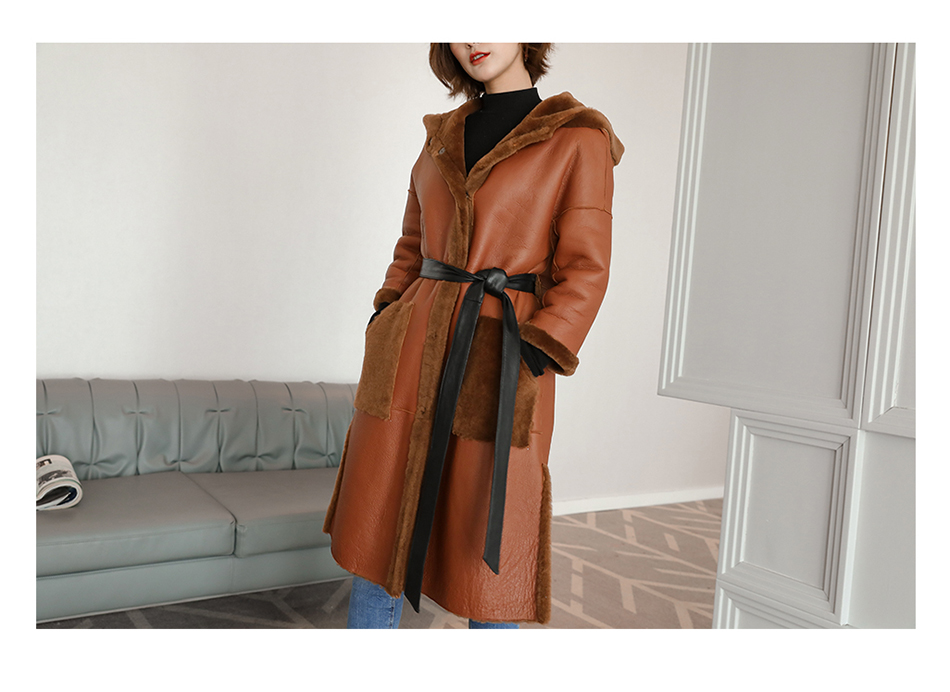 3-4 Length Merino Shearling Sheepskin Long Coat 012 Details 6