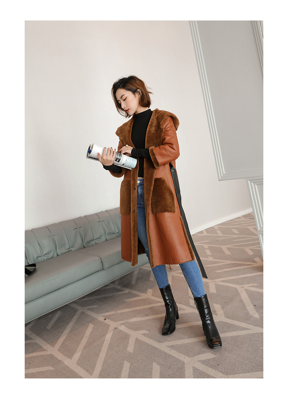 3-4 Length Merino Shearling Sheepskin Long Coat 012 Details 7