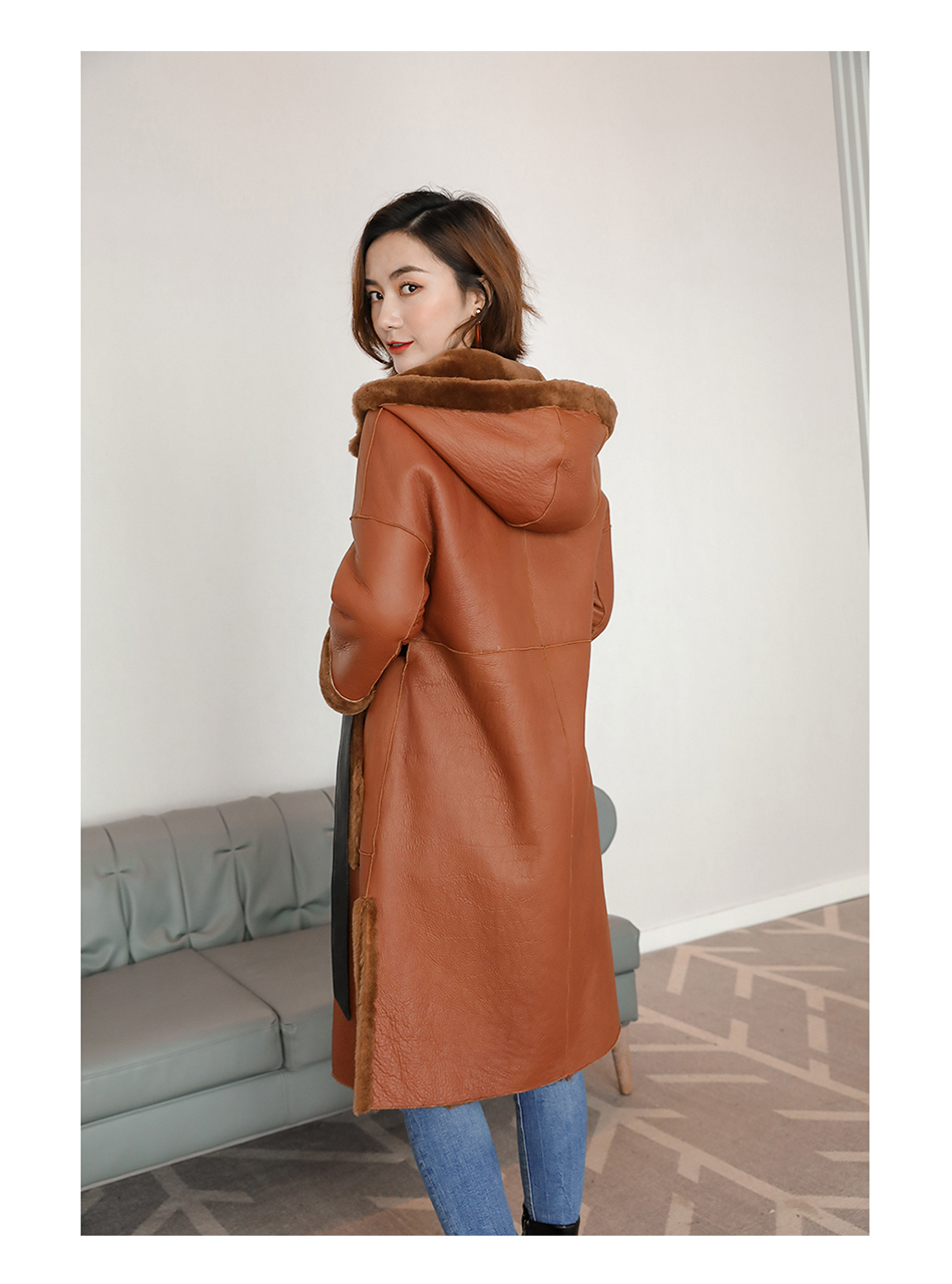 3-4 Length Merino Shearling Sheepskin Long Coat 012 Details 8