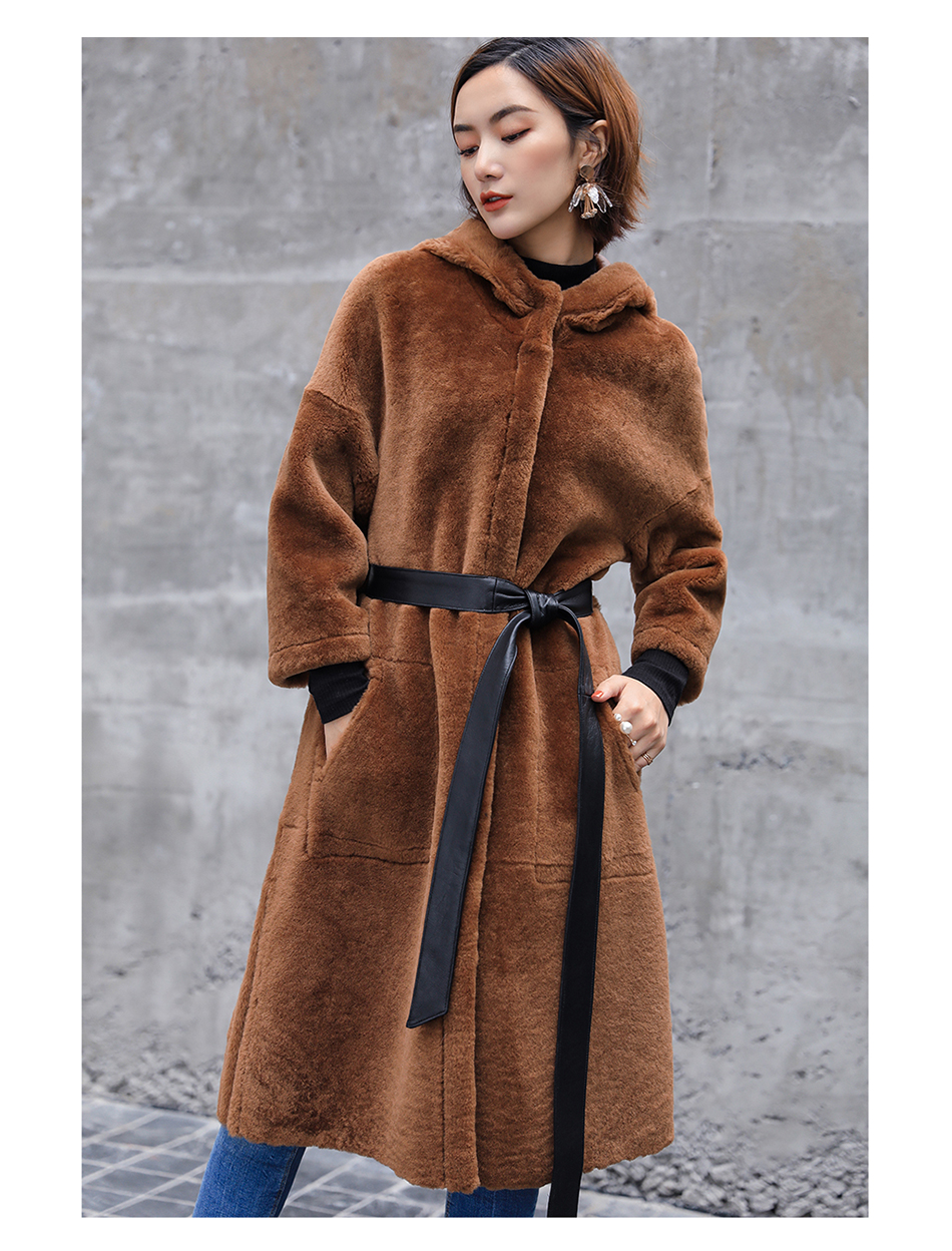 3-4 Length Merino Shearling Sheepskin Long Coat 012 Details 9