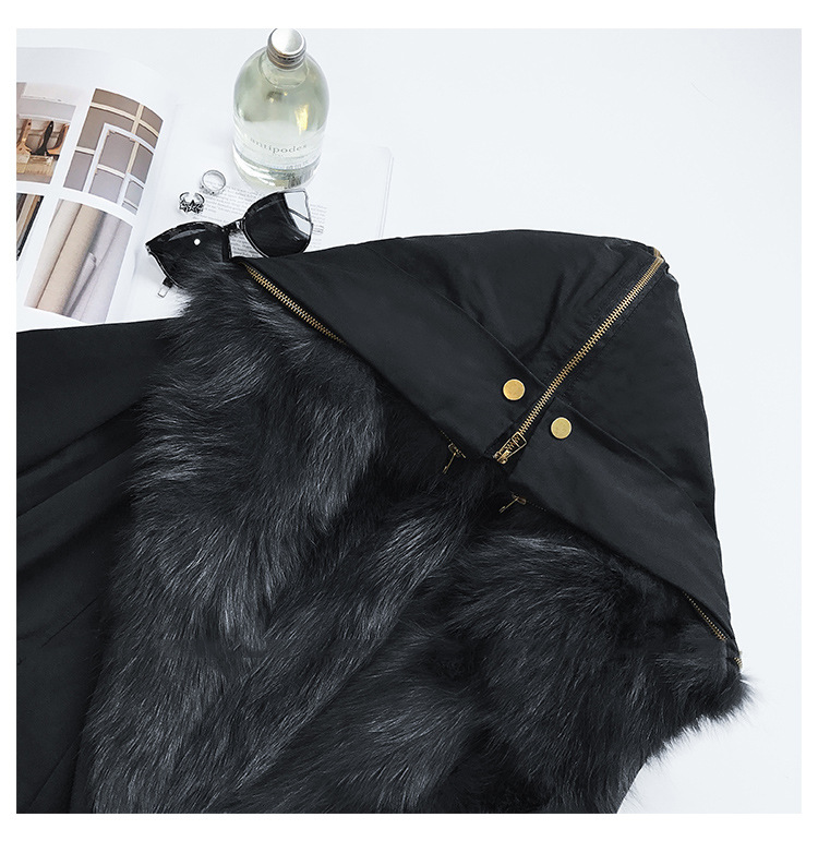 Detachable Fox Fur Liner Parka with Zipped Hood 014 Details 1