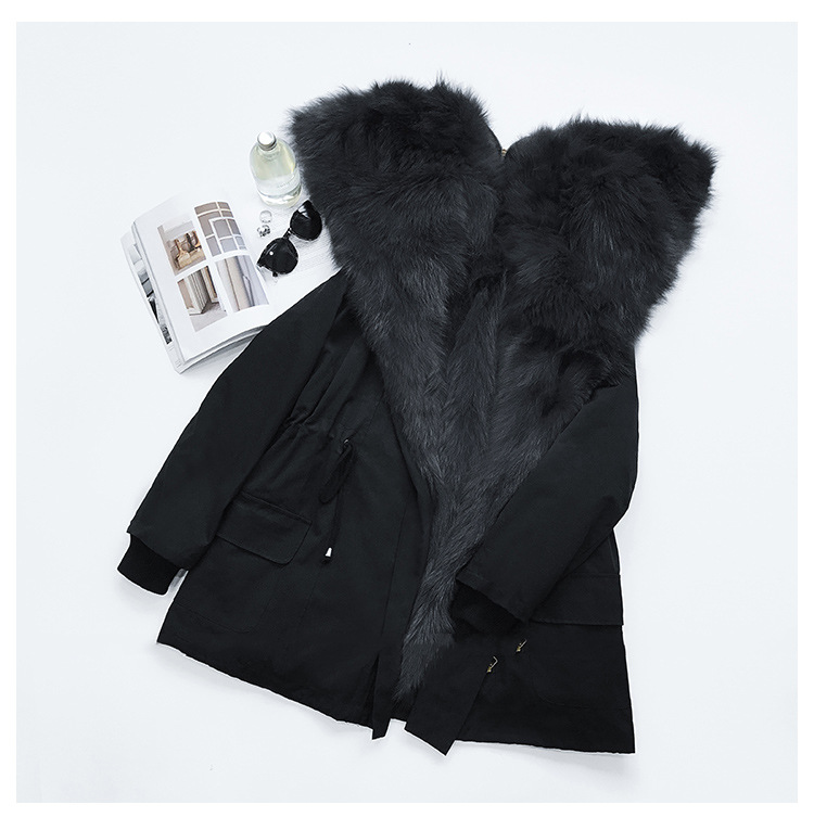 Detachable Fox Fur Liner Parka with Zipped Hood 014 Details 8
