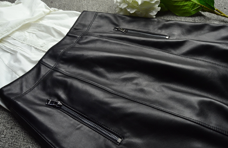 Sheepskin Real Leather A-line Skirt 016 Details 1