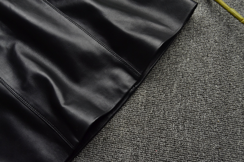 Sheepskin Real Leather A-line Skirt 016 Details 3