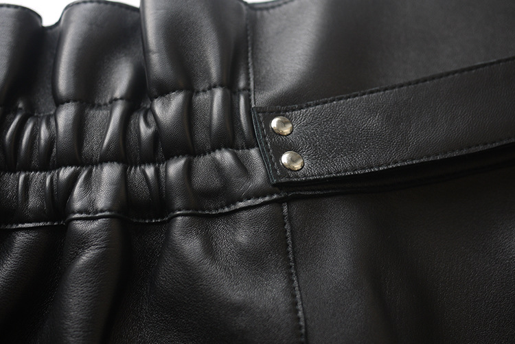 Sheepskin Real Leather Waistbelted Skirt 017 Details 13