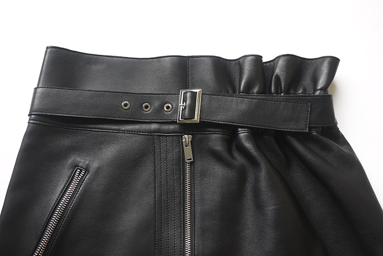 Sheepskin Real Leather Waistbelted Skirt 017 Details 7