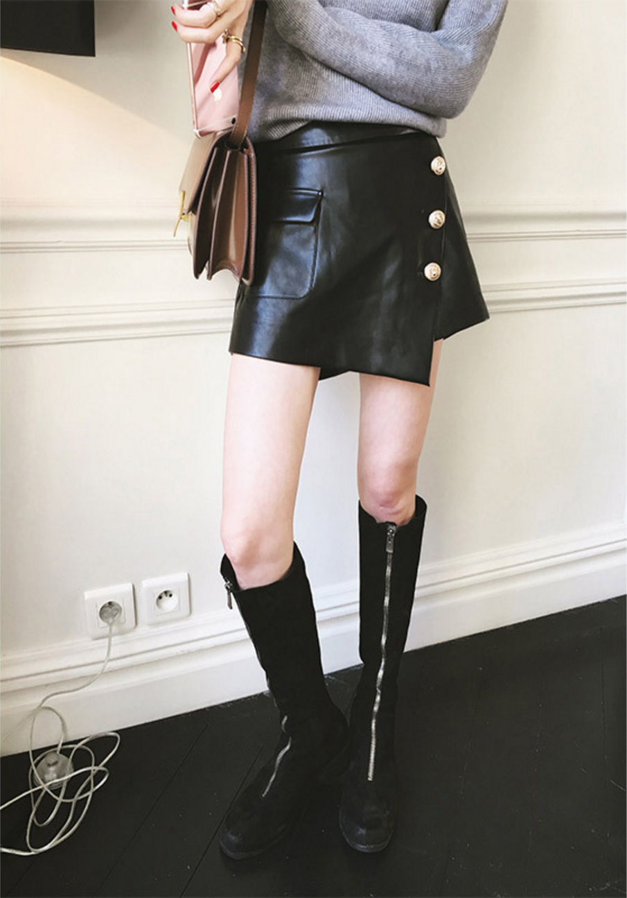 Sheepskin Real Leather Short Culottes 019 Details 1