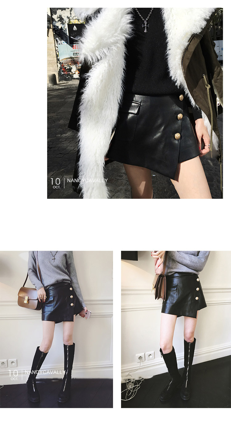 Sheepskin Real Leather Short Culottes 019 Details 8