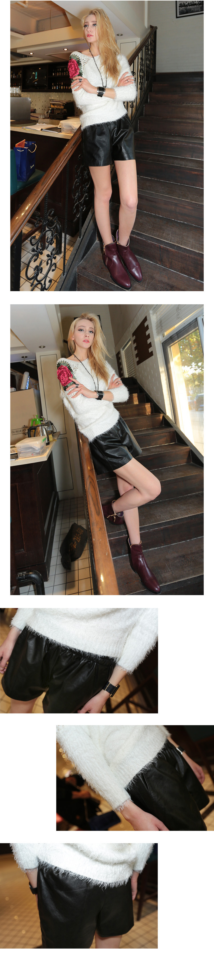 Women's Real Leather Short Pants 020 Details 4