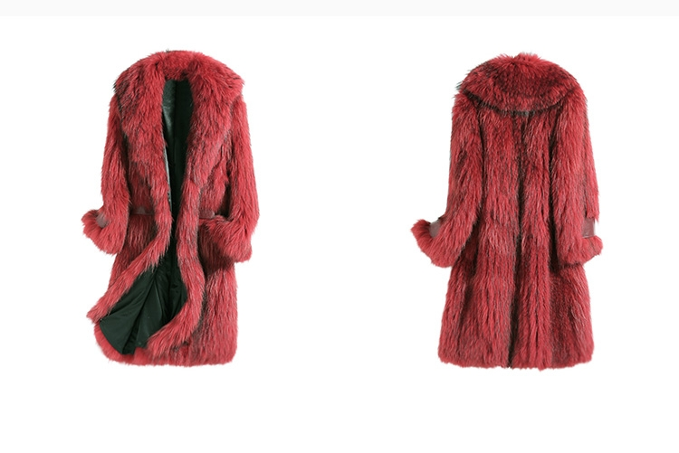 Knitted Raccoon Fur Long Coat 0222A-1