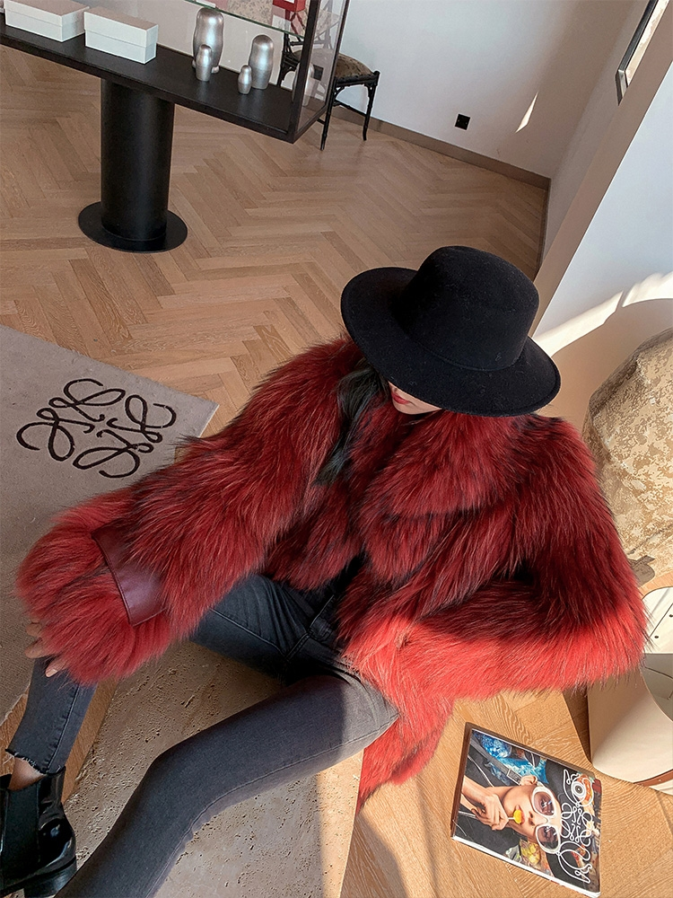 Knitted Raccoon Fur Long Coat 0222A-4