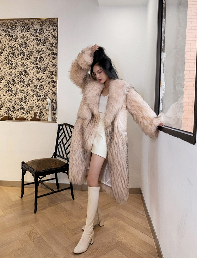 Knitted Raccoon Fur Long Coat 0222B-1