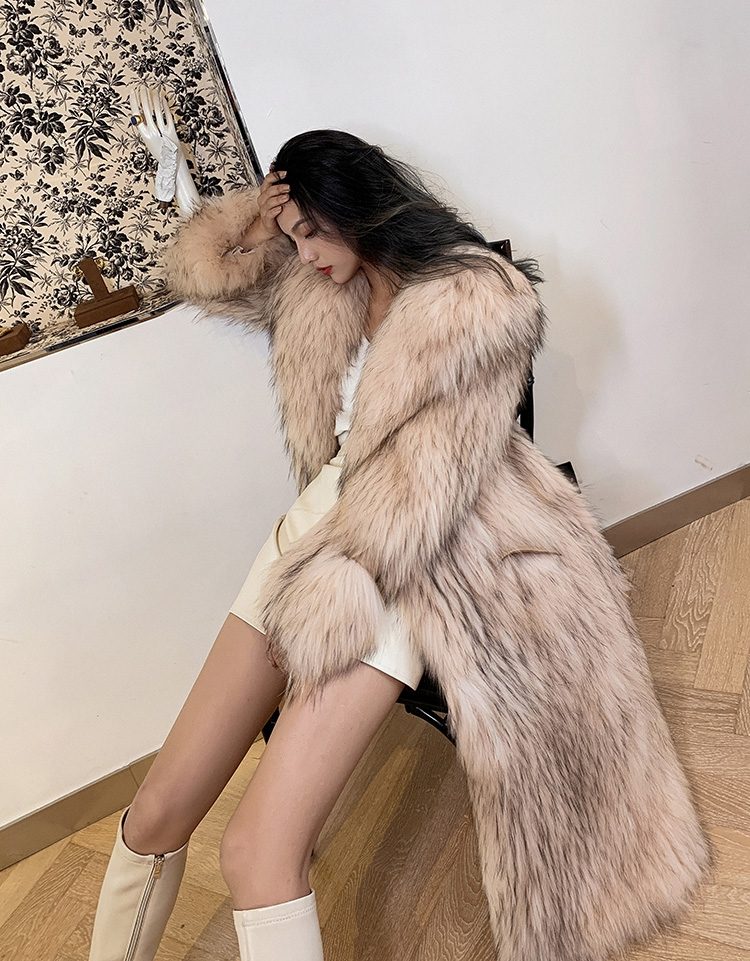 Knitted Raccoon Fur Long Coat 0222B-3
