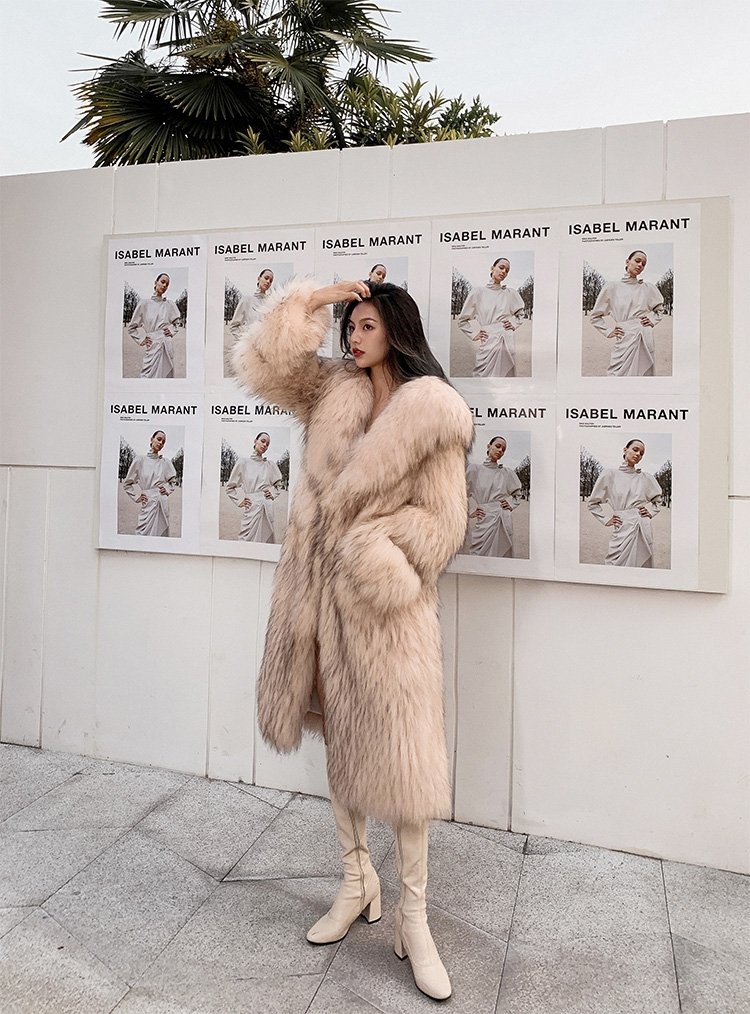 Knitted Raccoon Fur Long Coat 0222B-4