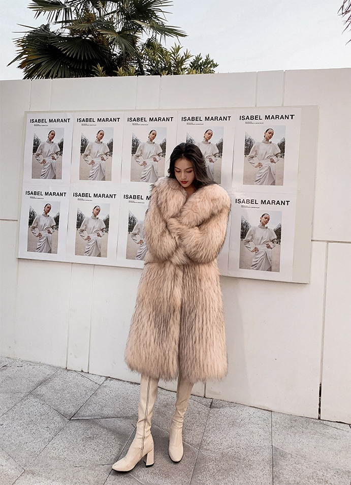 Knitted Raccoon Fur Long Coat 0222B-6