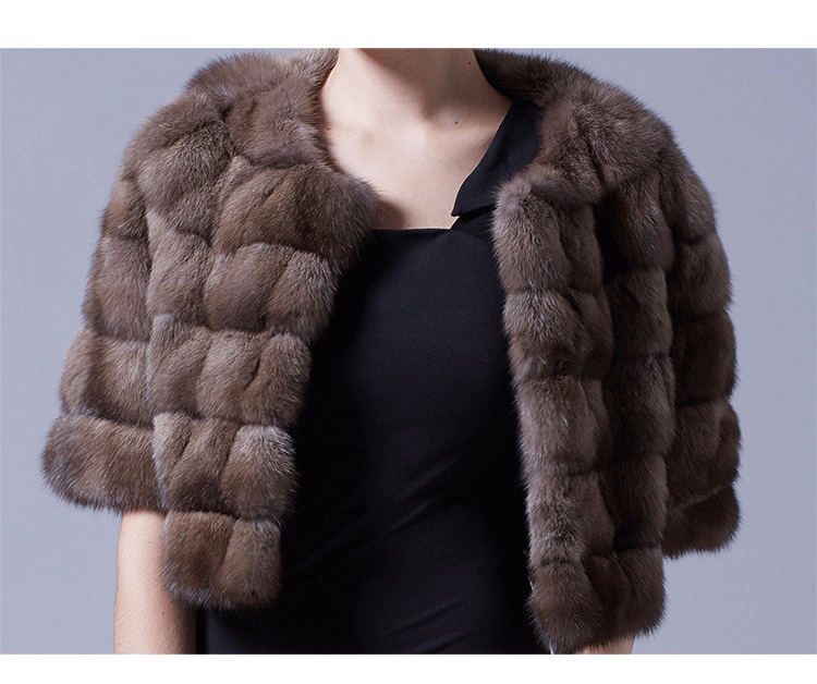 Sable Fur Bolero Cropped Jacket 024 Details 2