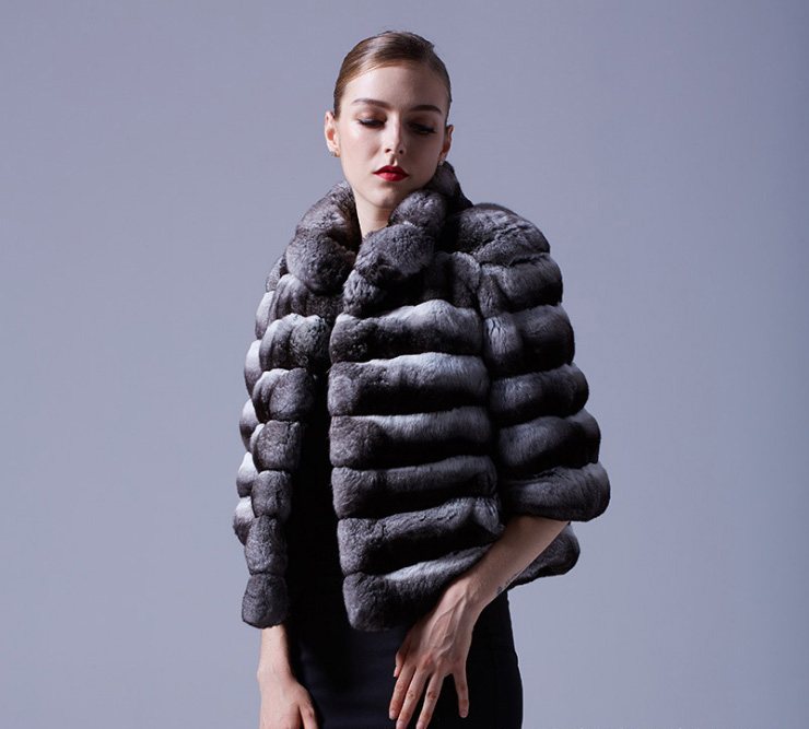 Cropped Chinchilla Fur Bolero Jacket 025 Details 7