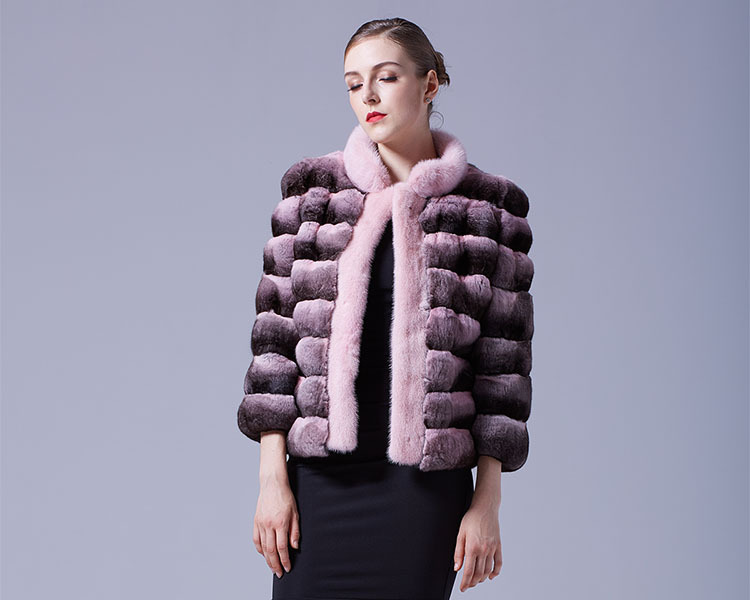 Cropped Chinchilla Fur Jacket with Mink Fur Trimming 026 Details 1