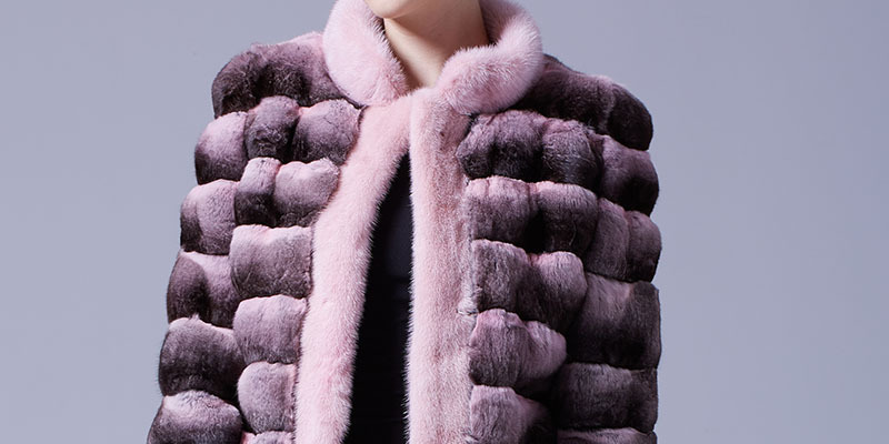 Cropped Chinchilla Fur Jacket with Mink Fur Trimming 026 Details 2