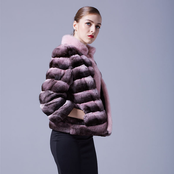 Cropped Chinchilla Fur Jacket with Mink Fur Trimming 026 Details 4