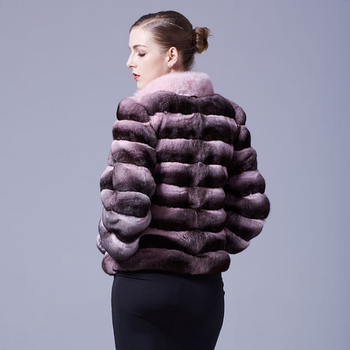 Cropped Chinchilla Fur Jacket with Mink Fur Trimming 026 Details 5