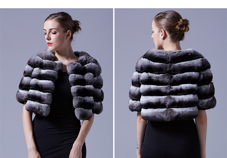 Chinchilla Fur Bolero Cape 027 Details 1