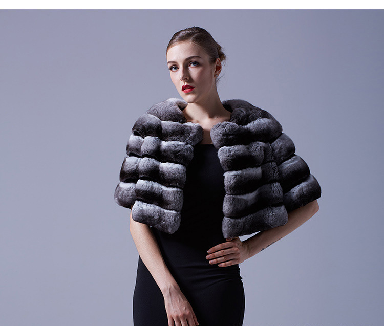 Chinchilla Fur Bolero Cape 027 Details 2