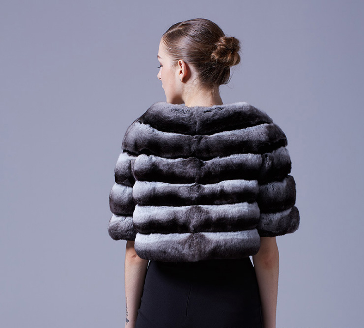 Chinchilla Fur Bolero Cape 027 Details 6