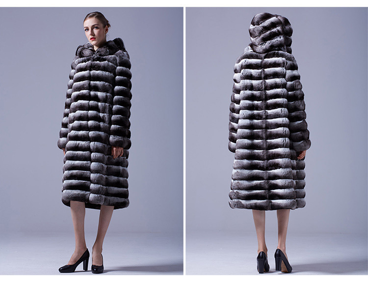 3-4 Length Chinchilla Fur Long Coat with Hood 028 Details 1