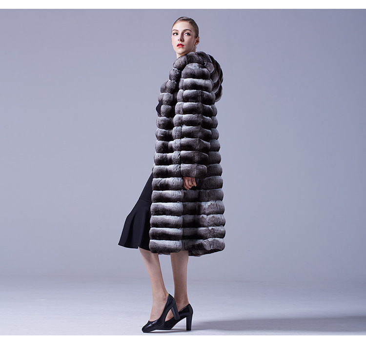 3-4 Length Chinchilla Fur Long Coat with Hood 028 Details 2