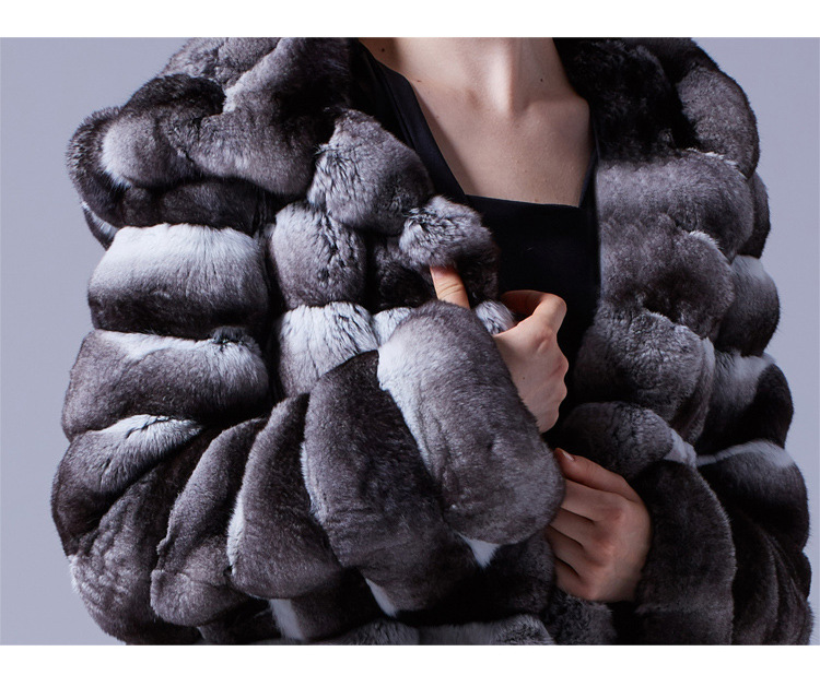 3-4 Length Chinchilla Fur Long Coat with Hood 028 Details 3