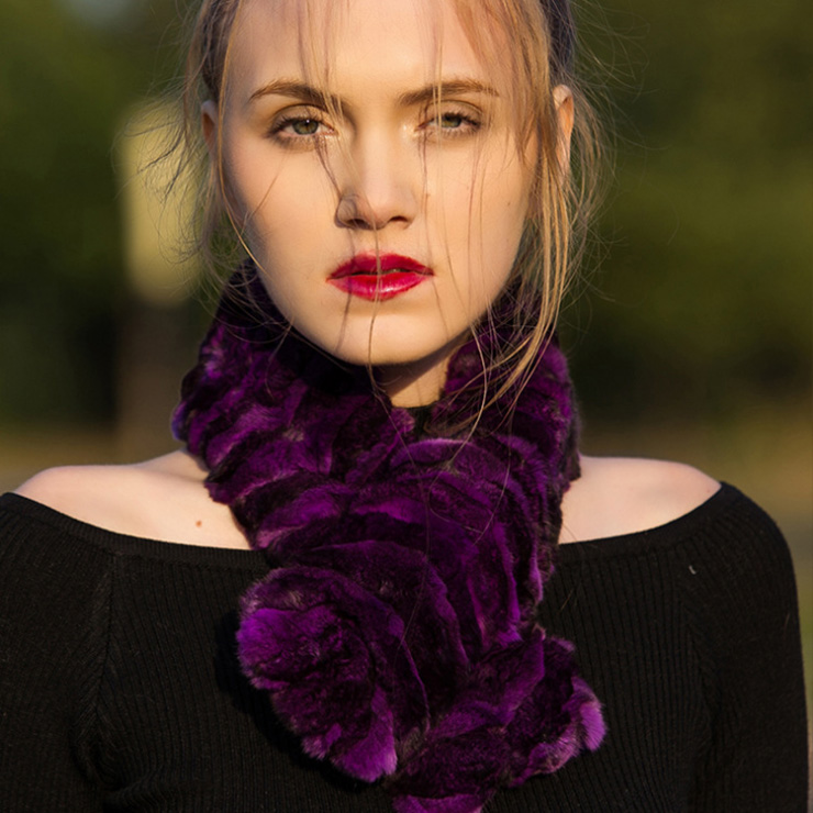 Chinchilla Fur Scarf Neckwarmer 032 Details 12