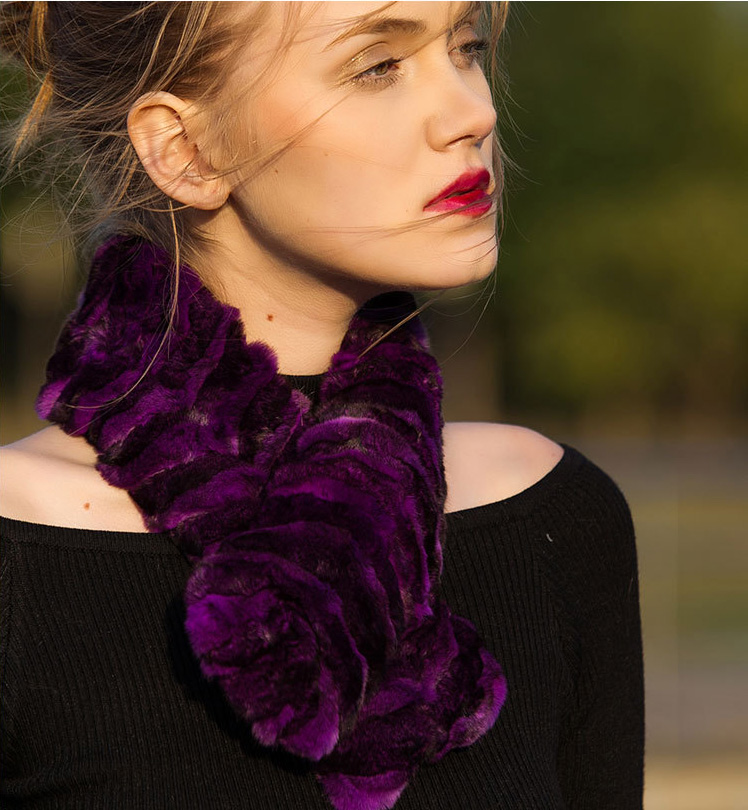 Chinchilla Fur Scarf Neckwarmer 032 Details 13
