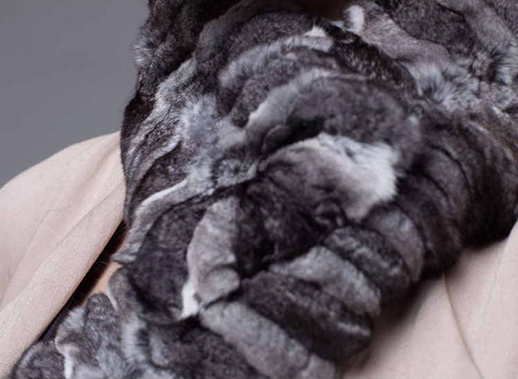 Chinchilla Fur Scarf Neckwarmer 032 Details 14