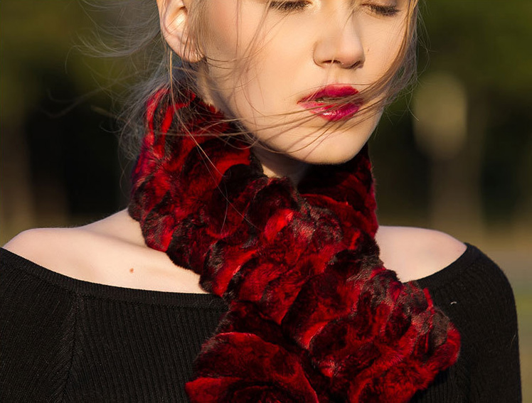 Chinchilla Fur Scarf Neckwarmer 032 Details 4