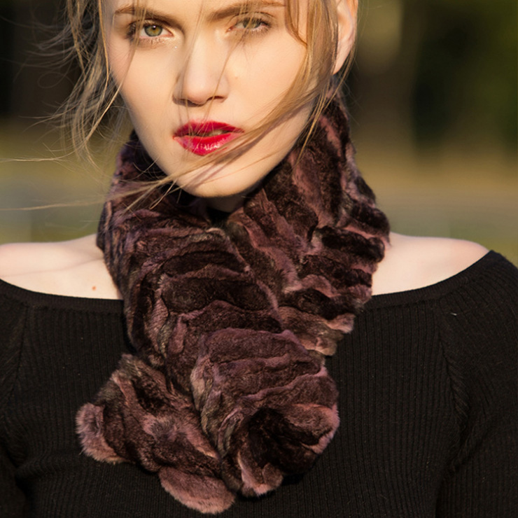 Chinchilla Fur Scarf Neckwarmer 032 Details 7