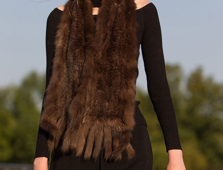 Knitted Sable Fur Scarf Shawl 033 Details 3