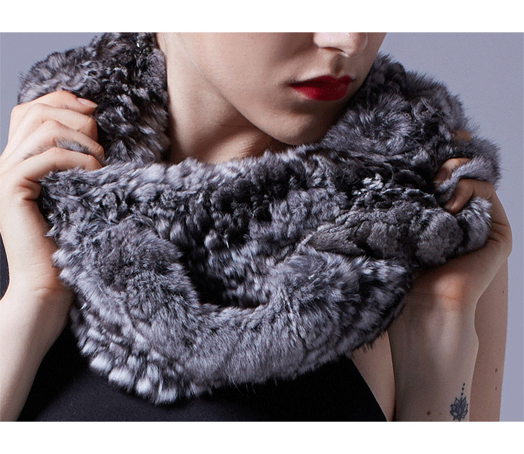 Chinchilla Fur Knitted Wrap 042 Details 1