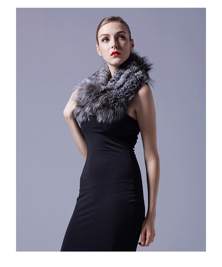 Chinchilla Fur Knitted Wrap Neckwarmer with Silver Fox Fur Trim 043 Details 2