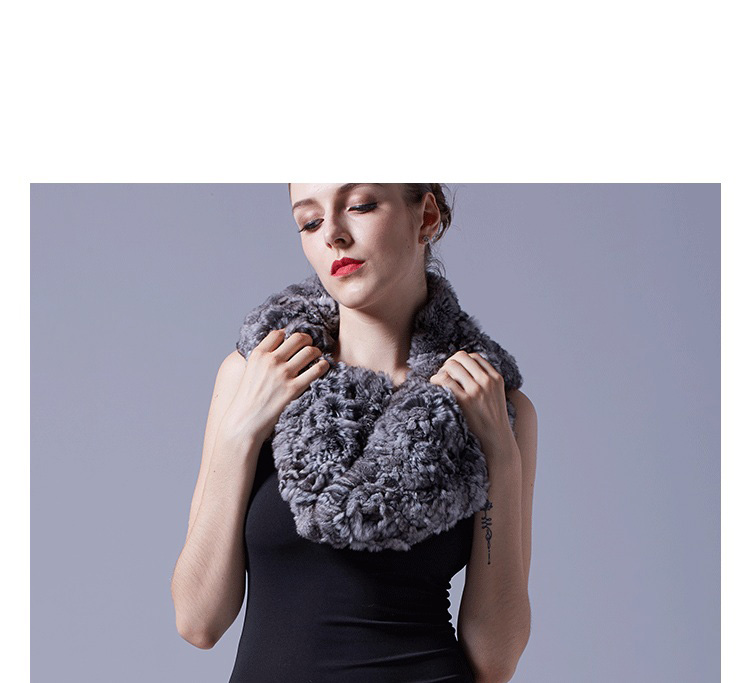 Chinchilla Fur Knitted Capelet 044 Details 1