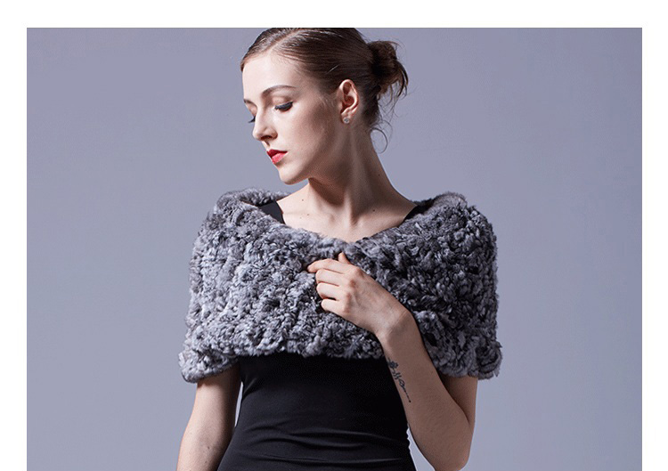 Chinchilla Fur Knitted Capelet 044 Details 2