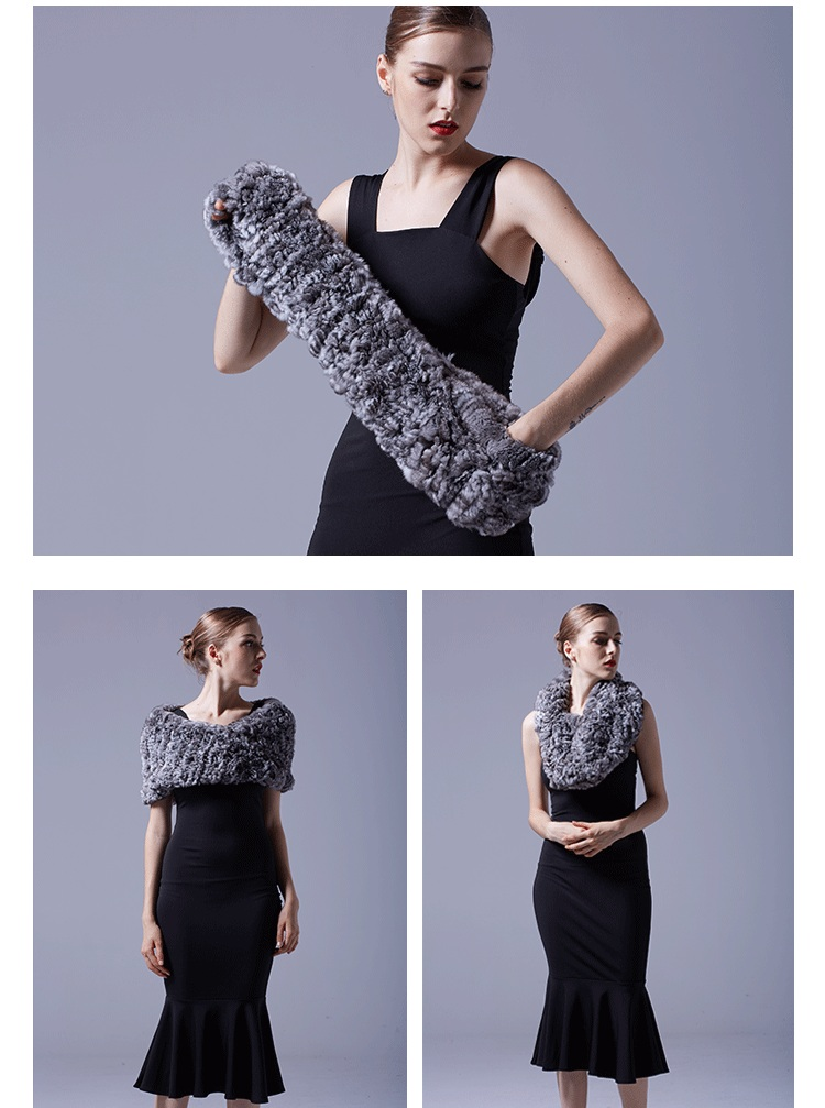 Chinchilla Fur Knitted Capelet 044 Details 5