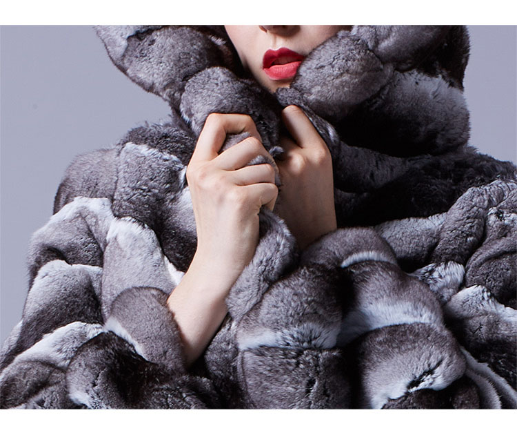 Hooded Chinchilla Fur Coat 047 Details 2