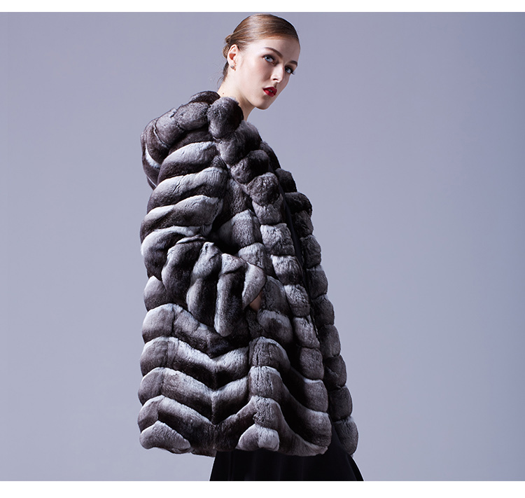 Hooded Chinchilla Fur Coat 047 Details 3