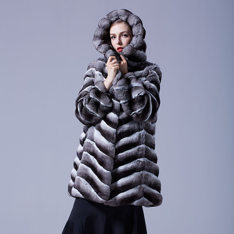 Hooded Chinchilla Fur Coat 047 Details 4