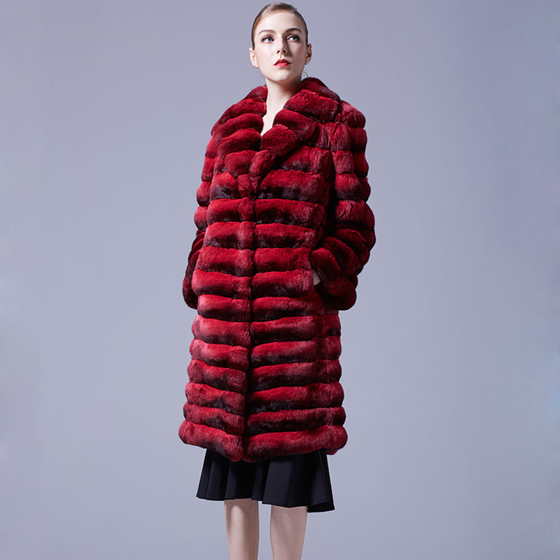 Chinchilla Fur Long Coat 048 Details 1