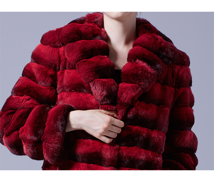 Chinchilla Fur Long Coat 048 Details 2