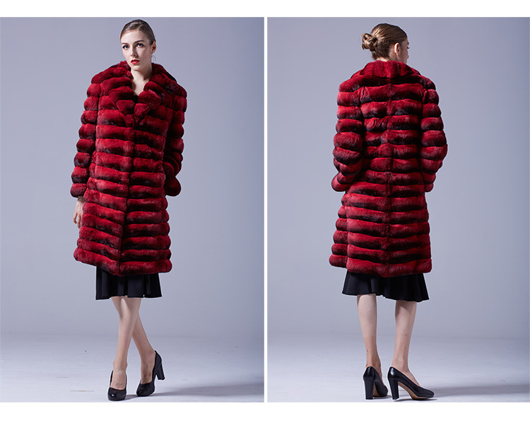 Chinchilla Fur Long Coat 048 Details 3