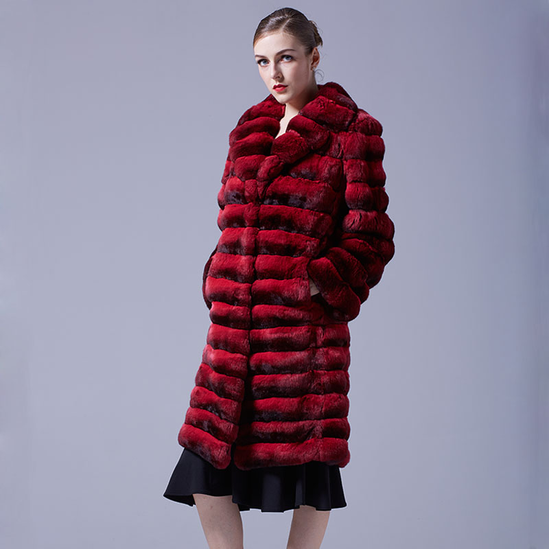 Chinchilla Fur Long Coat 048 Details 4